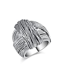 Mytys Black Marcasite Twist Multi Layer Silver Vintage Band Ring