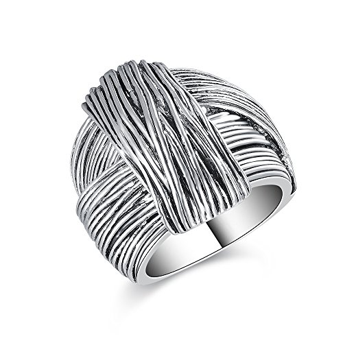 Mytys Vintage Silver Rings Knot Twist Circle Designer Bali Design Solid Large Bold Statement Chunky Rings for ()