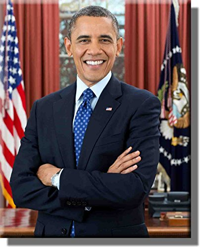 (Portrait of President Barack Obama Picture on Stretched Canvas, Wall Art Décor, Ready to Hang! )