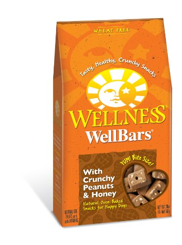 Wellness Wheat Free Oven Baked Biscuits for Dogs, WellBars Crunchy Peanuts and Honey, 20-Ounce Box, My Pet Supplies