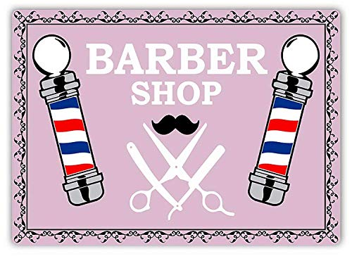 Dozili Barber Shop Poles (Pink) Metal Wall Sign Plaque Art Inspirational 10