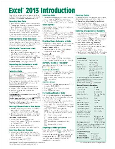 Microsoft Excel 2013 Introduction Quick Reference Guide (Cheat ...