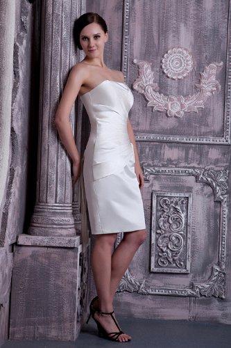 Weiß knielangen traegerlosen BRIDE Einfache GEORGE Abendkleid p84UHU