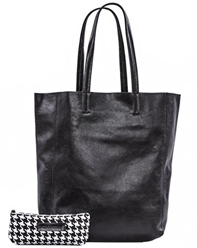 The Aartisan Women's Genuine Soft Leather Tote Bag Large Shoulder Handbag (Black) (Med Black Leather Purse)