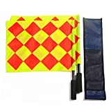 Feisuof 2Pcs Corner Flags for Pro Line Duo Premium Rotating Soccer Referee Flags with Case, Red/Yellow