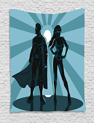 Superhero Couples Costumes List (Superhero Tapestry Wall Hanging by Ambesonne, Man and Woman Superheroes Costume with Masks and Capes Night Protector in Moonlight, Bedroom Living Room Dorm Decor, 60 W x 80 L Inches, Blue Teal)