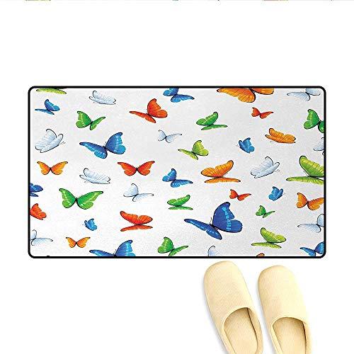 Bath Mat,Butterflies Animal Clipart Ecology Environment Joyful Design Cartoon Tropics,Door Mat Indoors Bathroom Mats Non Slip,Multicolor,Size:20