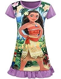 Moana Comfy Loose Fit Pajamas Girls Printed Princess Dress