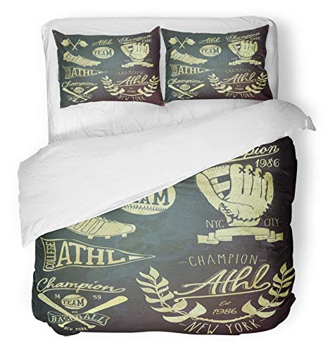Emvency 3 Piece Duvet Cover Set Brushed Microfiber Fabric Breathable Retro Vintage Baseball Label Softball Graphic Player Champion Badge Old College Bedding Set with 2 Pillow Covers Twin Size