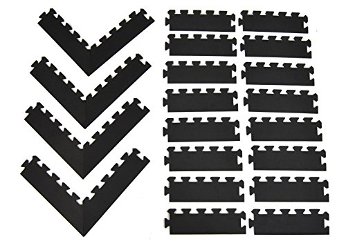 Wonder Mat Edging Package Set: 16 Sides & 4 Pairs of Corners for 6' x 6' Area (Black)
