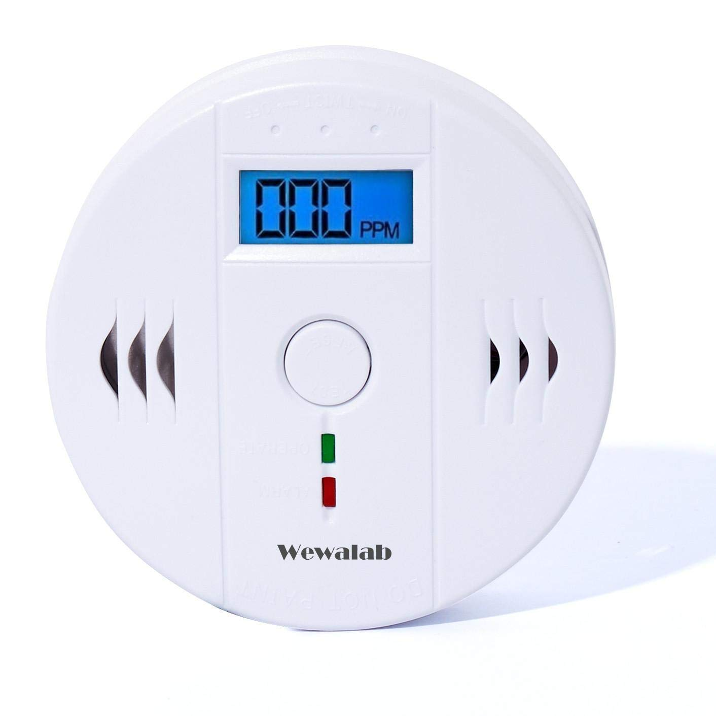 CO Detector Carbon Wewalab Monoxide Alarm LCD Portable Security Gas CO Monitor Battery Powered Battery not included