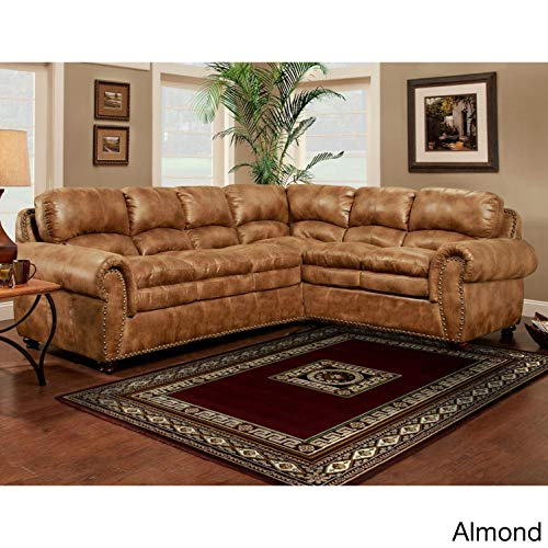 SOFA TRENDZ Brown Synthetic Leather-air Sectional Sofa Almond