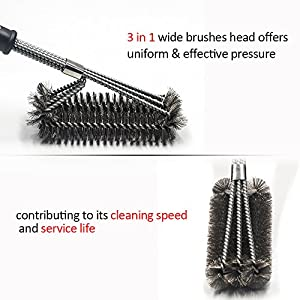 "ICCKER Barbecue Grill Brushes - 18"" Stainless Steel Grilling Cleaning Accessories 3 in 1 BBQ Brush 360° Cleaner & Scraper for Grates, BBQ Lovers"