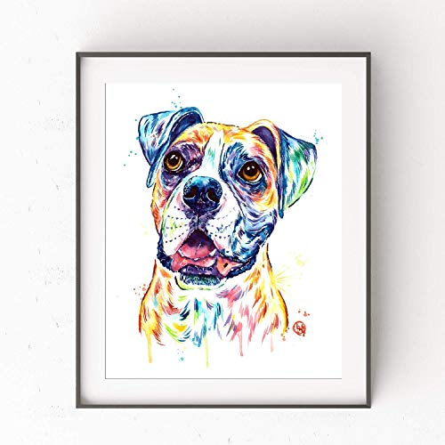 Born Boxers - Boxer Dog Wall Art by Whitehouse Art | Dog Memorial Gifts, Dog Decor, Dog Poster| Professional Art Print of Boxer Original Watercolor | In Memory Of Dog | 6 Sizes