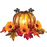 Collections Etc Glass Pumpkin Floral Centerpiece with LED Candle Features Colorful Leaves, Acorns, and Sunflowers