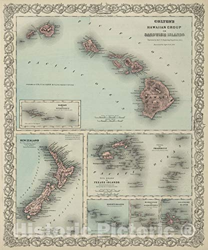 Historic Map | World Atlas | 1869 Hawaii, New Zealand, Fiji,Tonga, Samoa, French Polynesia, Marquesas, and Galapagos Islands | Vintage Wall Art | 44in x 53in (Framed Map Of New Zealand)