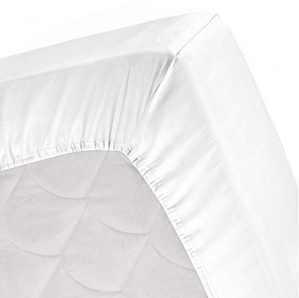 Scala Hotel Design Thread Count 650 Egyptian Cotton Olympic Queen Size 1 Piece fitted bed sheets Only ( Bottom Sheets) Solid Deep Pocket 12 Inches White