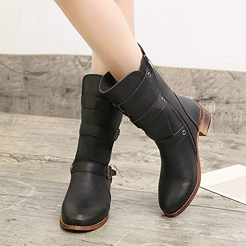 4ff61bb7e3822 Hunzed Women Shoes Retro Knight Boots Round Head Thick with Leather Girl's  Boots Female Boots (Black, 7 M US)