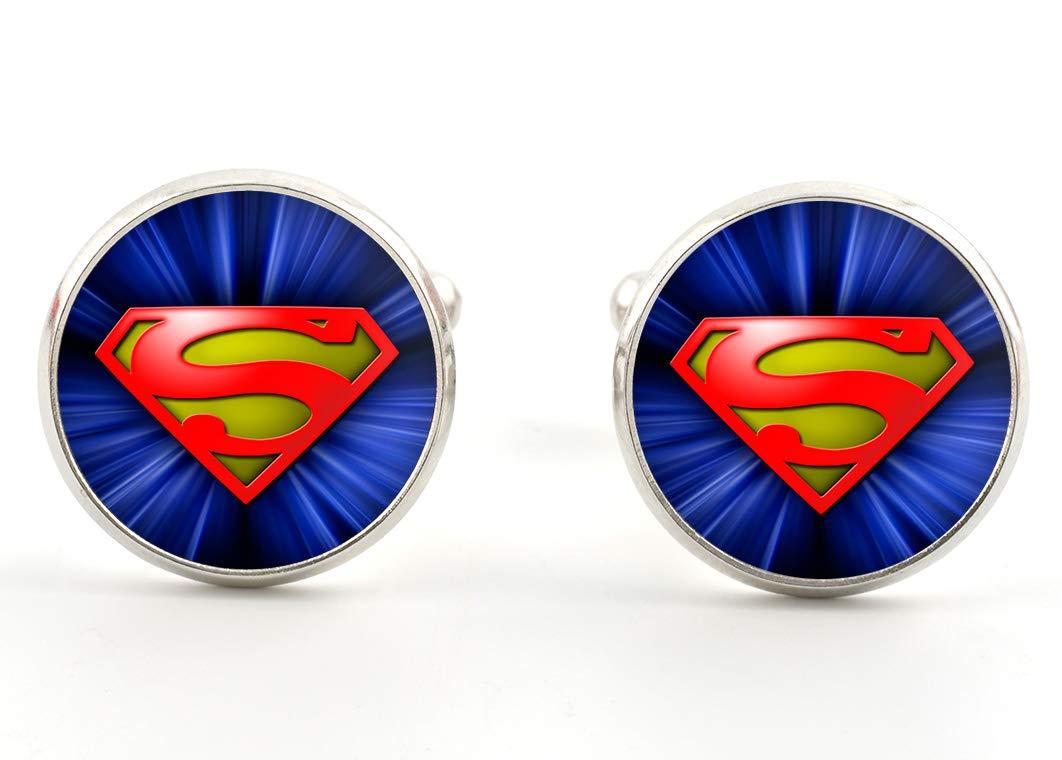 Superman Cufflinks Superhero Silver Jewelry Gift Ideas for Men