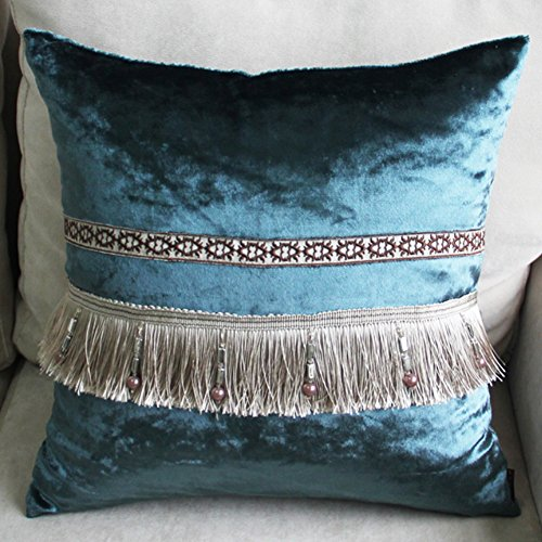 Simple Tassels European Style Pillowcase - Aegean Sea Lace Style Car Offic Home Pillow Cover Light Blue 17.7 x 17.7 Inch Aegean Decorative Pillow