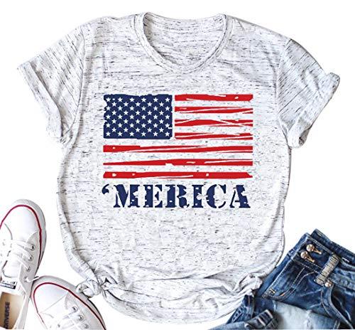 YUYUEYUE Merica Flag Tshirt Women America Flag Cute Graphic Tshirt Short Sleeve O Neck Tops Tees (XX-Large, White)