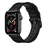 Mifa [Upgraded] Compatible w/Apple Watch Band 44mm 42mm Series 5 4 3 Rugged Hybrid Sports Leather Vintage Dressy Dark Replacement Strap Sweatproof iwatch Nike Space Black Grey Men Classic Black
