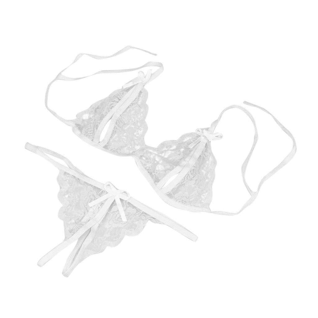 MALLOOM Women Lady Sexy Lace Bra G-String Lingerie Underwear Sleepwear White