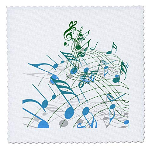 10 Inch Square Wave - 3dRose Lens Art by Florene - Music - Image of Modern Waves of Blue and Green Notes - 10x10 inch Quilt Square (qs_308083_1)