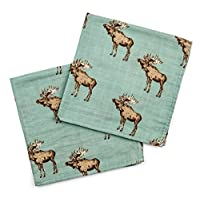 "Milkbarn Bamboo Cotton Burp Cloths ""Bow Tie Moose"" - Pack of 2"