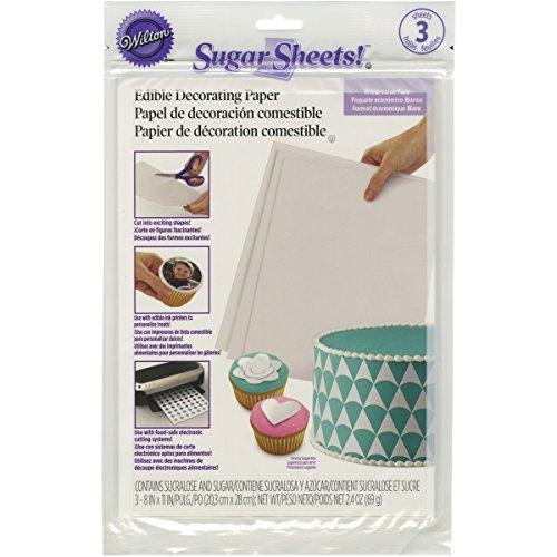 Wilton Sugar Sheets, White, 3/Pack, Cake Decorating - Edible Paper