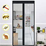 WER Magnetic Screen Door Full Frame Velcro Keep Bugs Out Let Fresh Air In Insect and Fly Screen with Magic Magnetic Closure Retractable Mesh Door Screen Fits Doors Up to 39.3x82.6'' Max