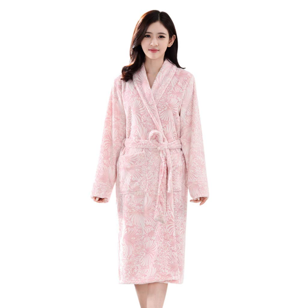 Clearance Sales Christmas Unisex Winter Plush Shawl Bathrobe Lengthened Thicken Kimono Robe Homewear Soft Sleepwear (A_Pink, M)