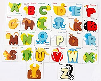 Angel Impex British Cards Game to Recognise with 26 Colorful Wooden Alphabets, Also 2 Side Bases in A Bag for Kids