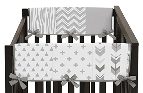 Sweet Jojo Designs 2-Piece Grey and White Woodland Side Crib Rail Guards Baby Teething Cover Protector Wrap for Woodsy Collection by by Sweet Jojo Designs