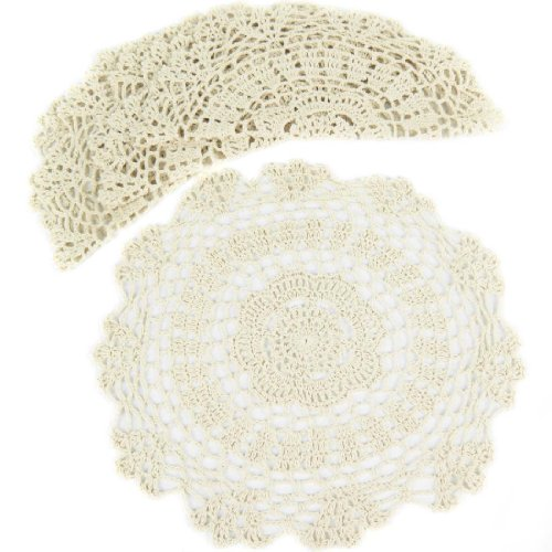 (kilofly Crochet Cotton Lace Table Placemats Doilies Value Pack, 4pc, White, Floral, 12 inch)