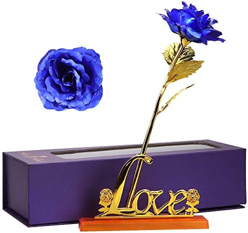 Oalushf Gold Rose Gift for Women, Long Stem 24k Gold Dipped Rose Lasted Real Roses with Stand, Blue Rose Flower, Gift for Valentines Day, Mothers Day, Anniversary.