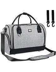 Pomelo Best Wickelväska med vattentätt skötunderlägg och 2 barnvagnar krokar justerbar axelrem multifunktionell axelväska resväska för resor