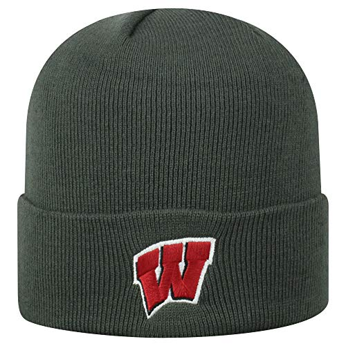 Top of the World NCAA Wisconsin Badgers Men's Winter Knit Cuffed Charcoal Hat, Charcoal