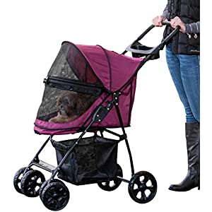 Pet Gear Happy Trails Pet Stroller for Cats/Dogs, Easy Fold with Removable Liner, Storage Basket