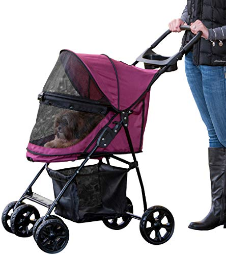 Pet Gear No-Zip Happy Trails Lite Pet Stroller for Cats/Dogs, Zipperless Entry, Easy Fold with Removable Liner, Storage Basket + Cup Holderr, Boysenberry