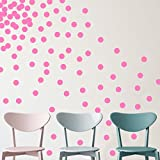 "YINGKAI Set of 80pcs 2"" Removable Pink Vinyl Polka Dot Wall Decor Wall Decals Round Circle Dots Art Peel & Stick Wall Stickers For KidsGirls Room Nursery Room Bedroom Living Room Decoration"