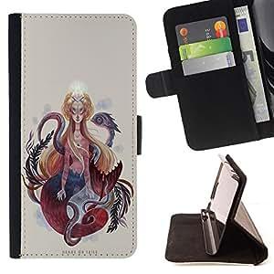 BullDog Case - FOR/Apple Iphone 5C / - / SERPENT WOMAN SPIRITUALITY SNAKE ART PAINTING /- Monedero de cuero de la PU Llevar cubierta de la caja con el ID Credit Card Slots Flip funda de cuer