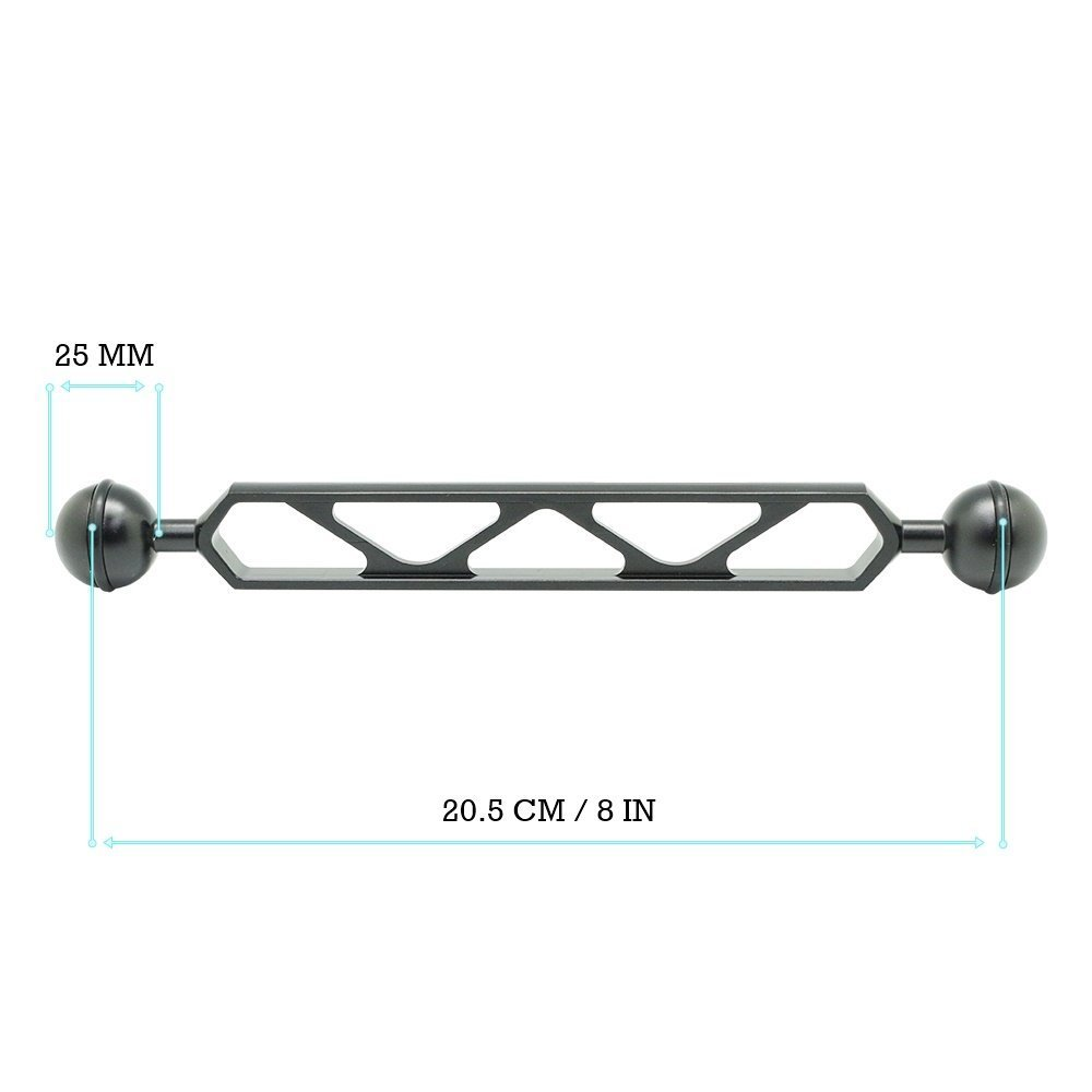 8''/20.5cm Double 1'' Ball Arm for Connecting Strobe/Video Light to Underwater Housing