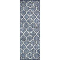 Unique Loom Outdoor Collection Casual Moroccan Lattice Geometric Blue Runner Rug (2 x 6)