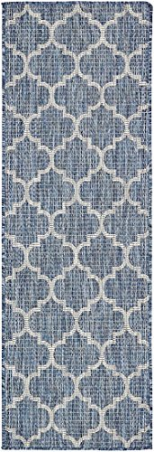 Unique Loom Outdoor Collection Casual Moroccan Lattice Geometric Blue Runner Rug (2' x 6') by Unique Loom