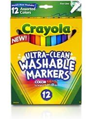 $1.81 Crayola Fine Line Ultraclean 儿童12色安全可水洗马克笔