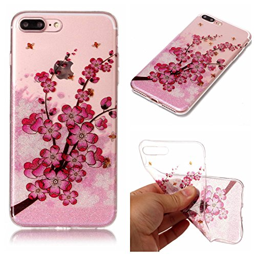 Custodia iPhone 7 Plus / iPhone 8 Plus , LH Filiali Fiore Di Prugne TPU Trasparente Silicone Cristallo Morbido Case Cover Custodie per Apple iPhone 7 Plus / iPhone 8 Plus 5.5
