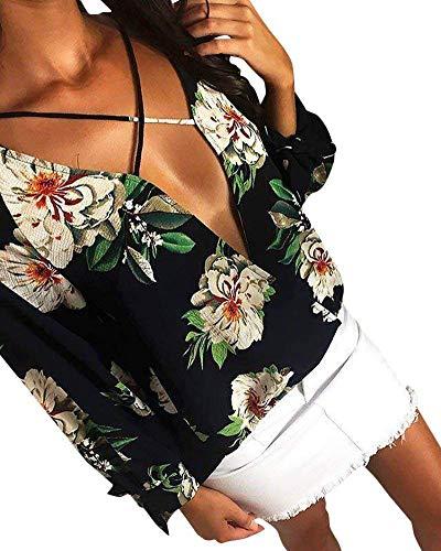 Baggy Primaverile Manica Grazioso Stampa Schwarz Donna Camicia V Lunga Vintage Eleganti Fashion Tempo Fiore Shirt Autunno Neck Tops Blusa Libero Chiffon Camicetta Stlie w0wa6qg
