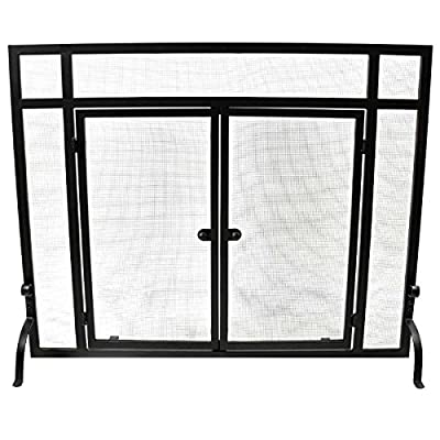WoodEze Single Panel Flat Fireplace Screen with Doors 44'' W x 33'' H