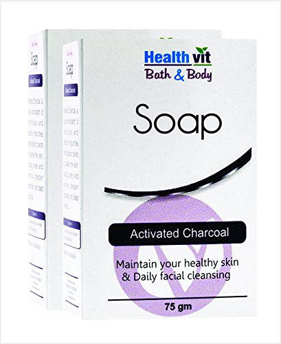 Healthvit Bath and Body Activated Charcoal Soap, 75g (Pack of 2)